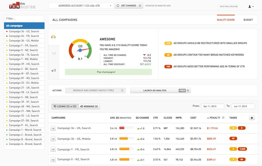 Сервис по отлеживаю показателя качества в Adwords